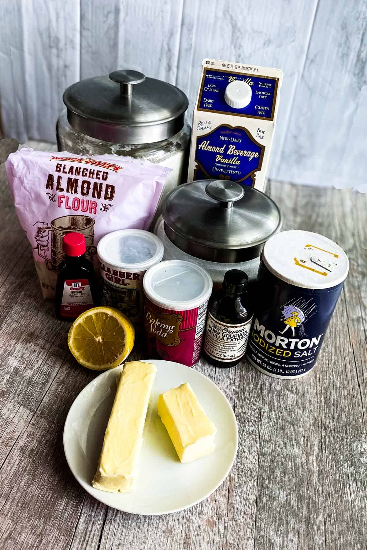 Ingredients for almond cupcakes
