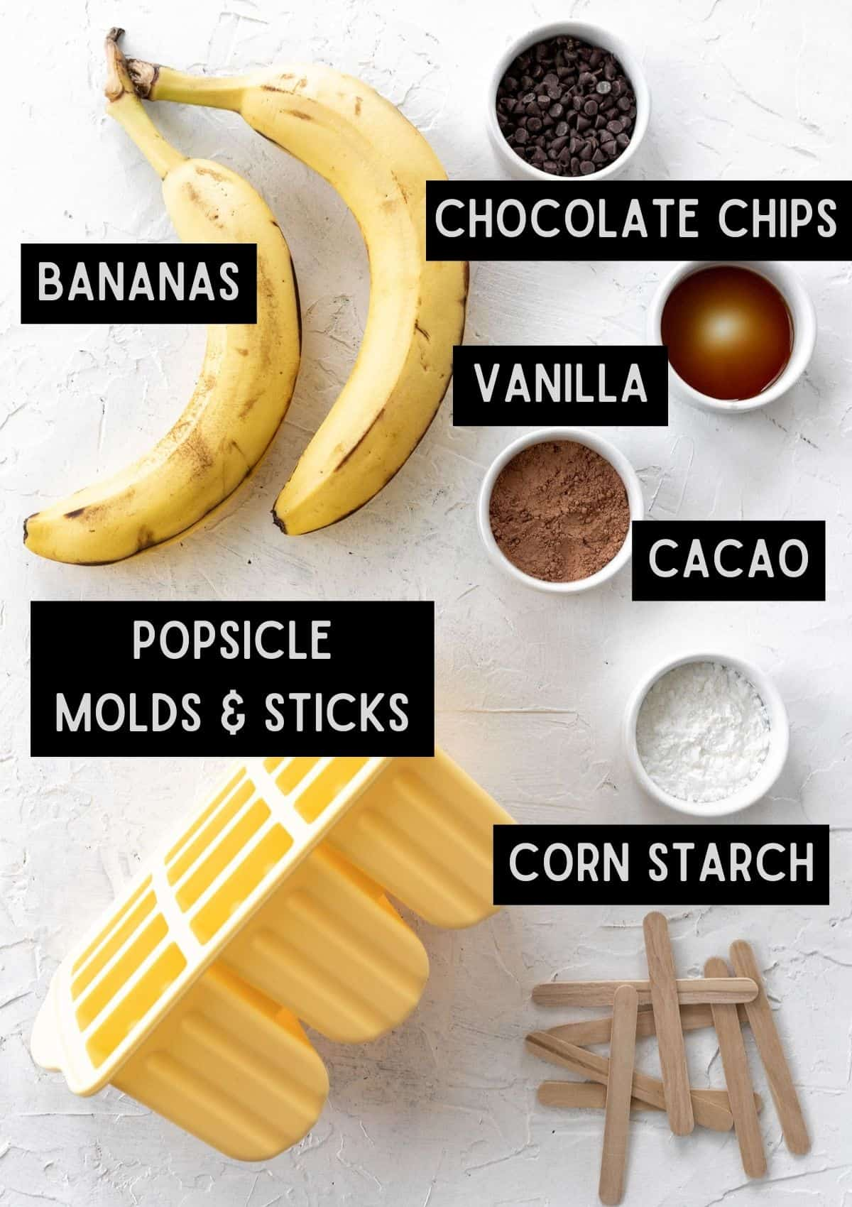 Labelled ingredients for chocolate popsicles (see recipe for details).
