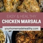 Pinterest pin for healthy chicken marsala.