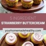 Pinterest pin for strawberry buttercream frosting.