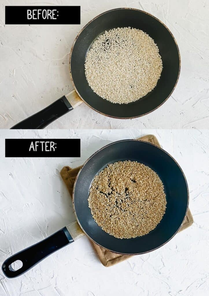 Sesame seeds in a small skillet before and after toasting.