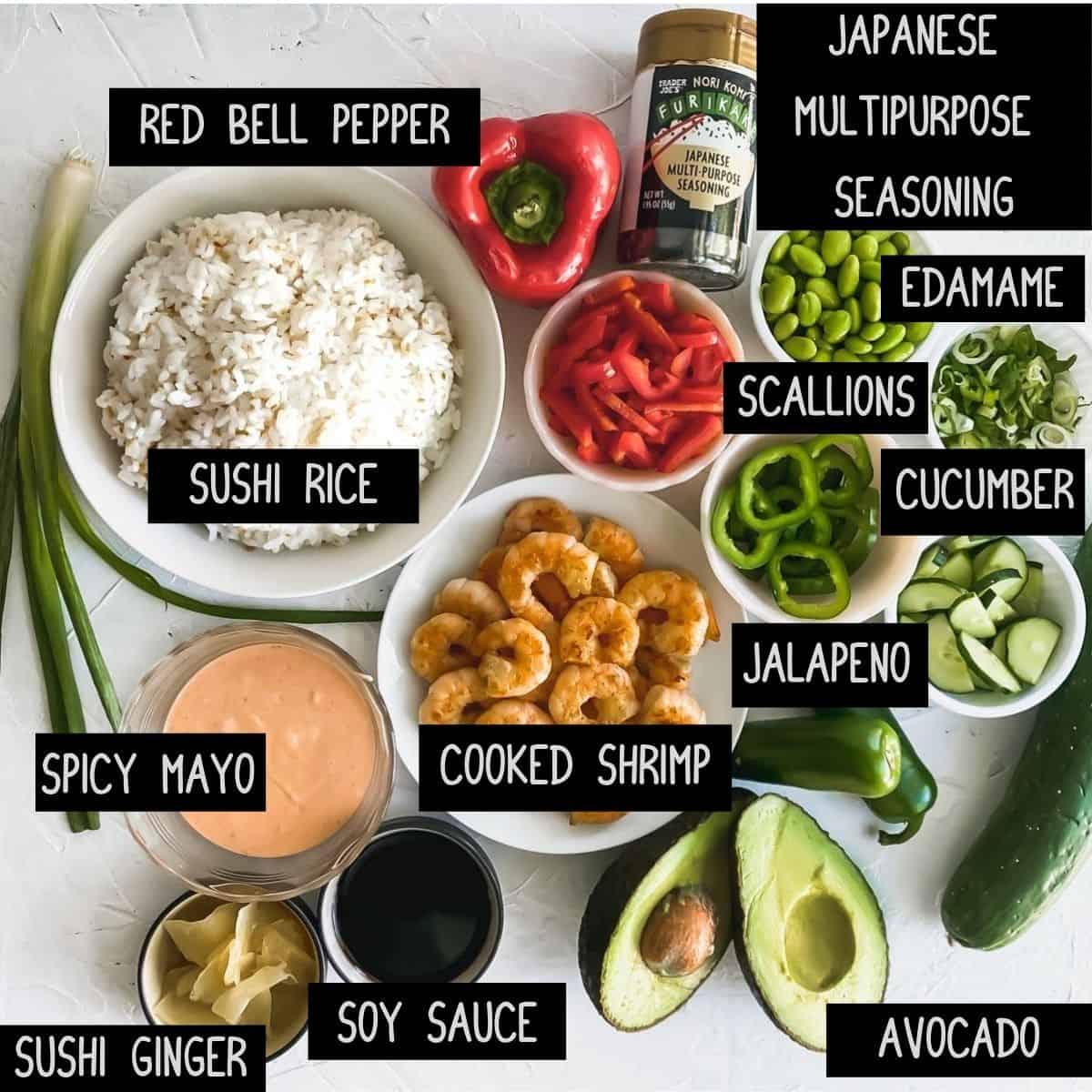 Ingredients for shrimp poke bowls
