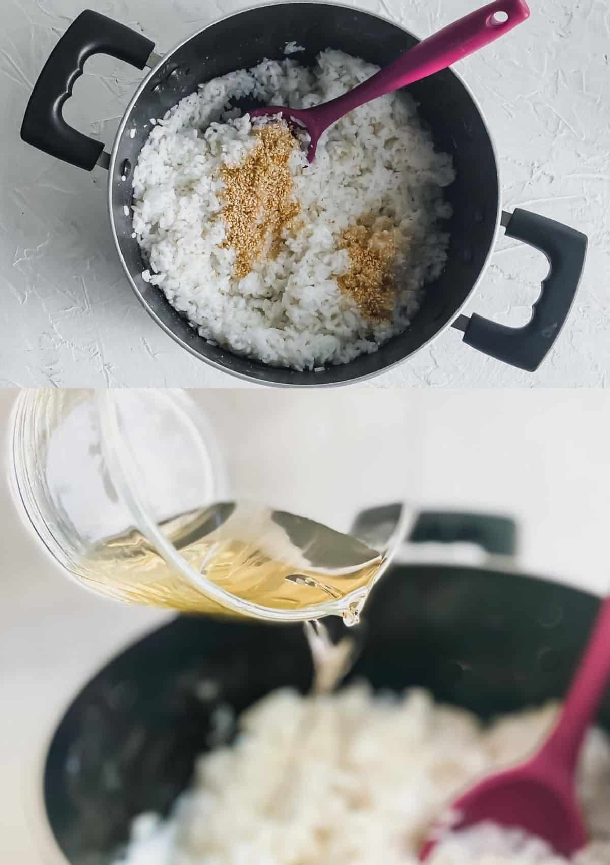 Sushi rice in a pot with added sesame seeds (top). Poured rice vinegar into rice (bottom)
