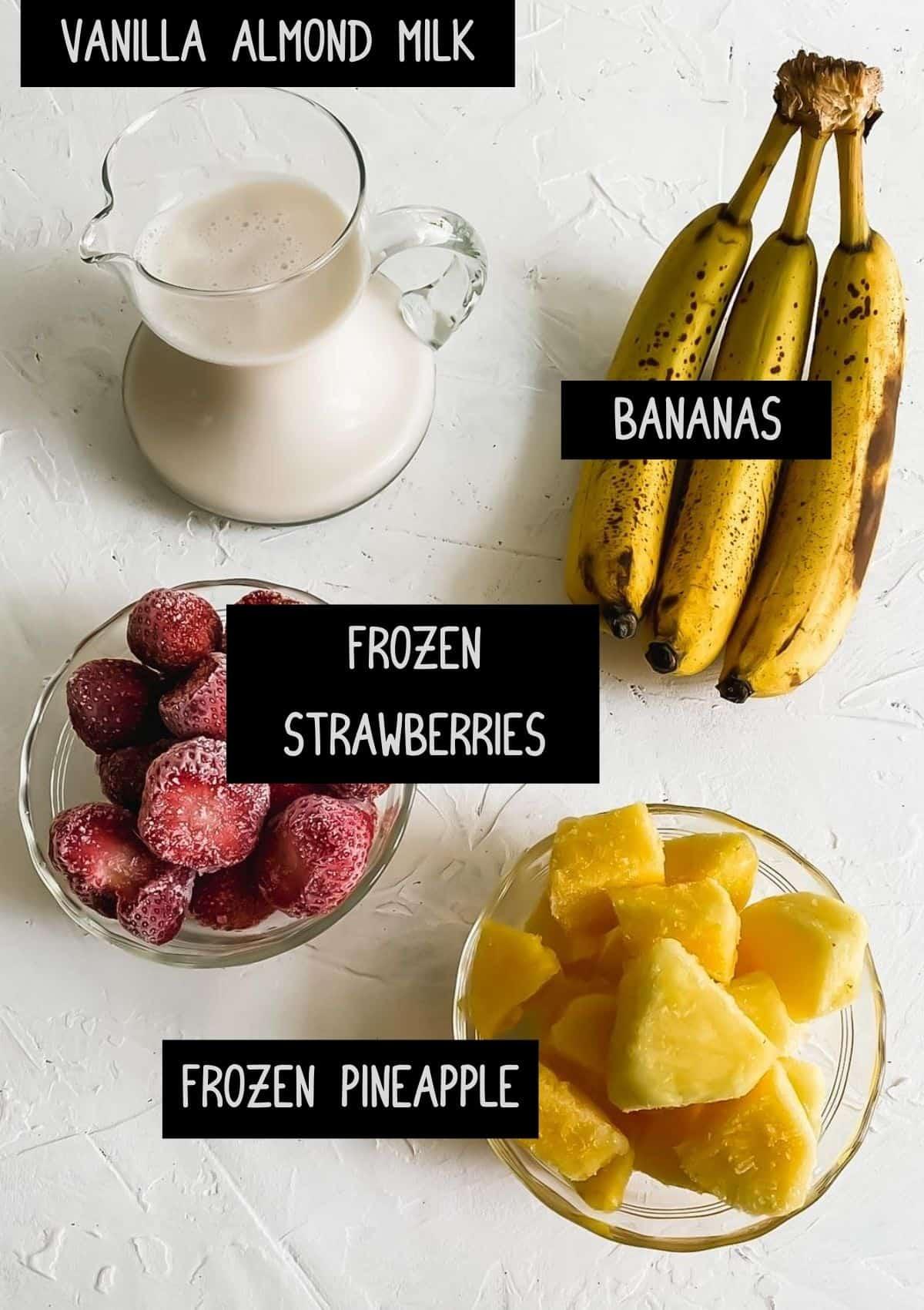 ingredients for vegan tropical smoothie