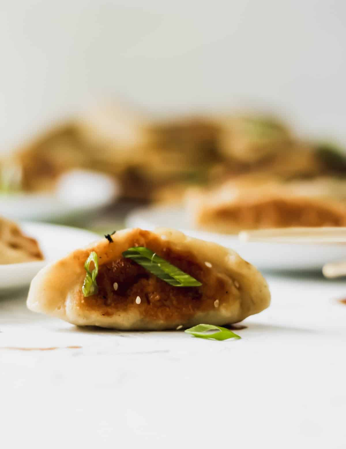 A chinese chicken dumpling with scallions on top.