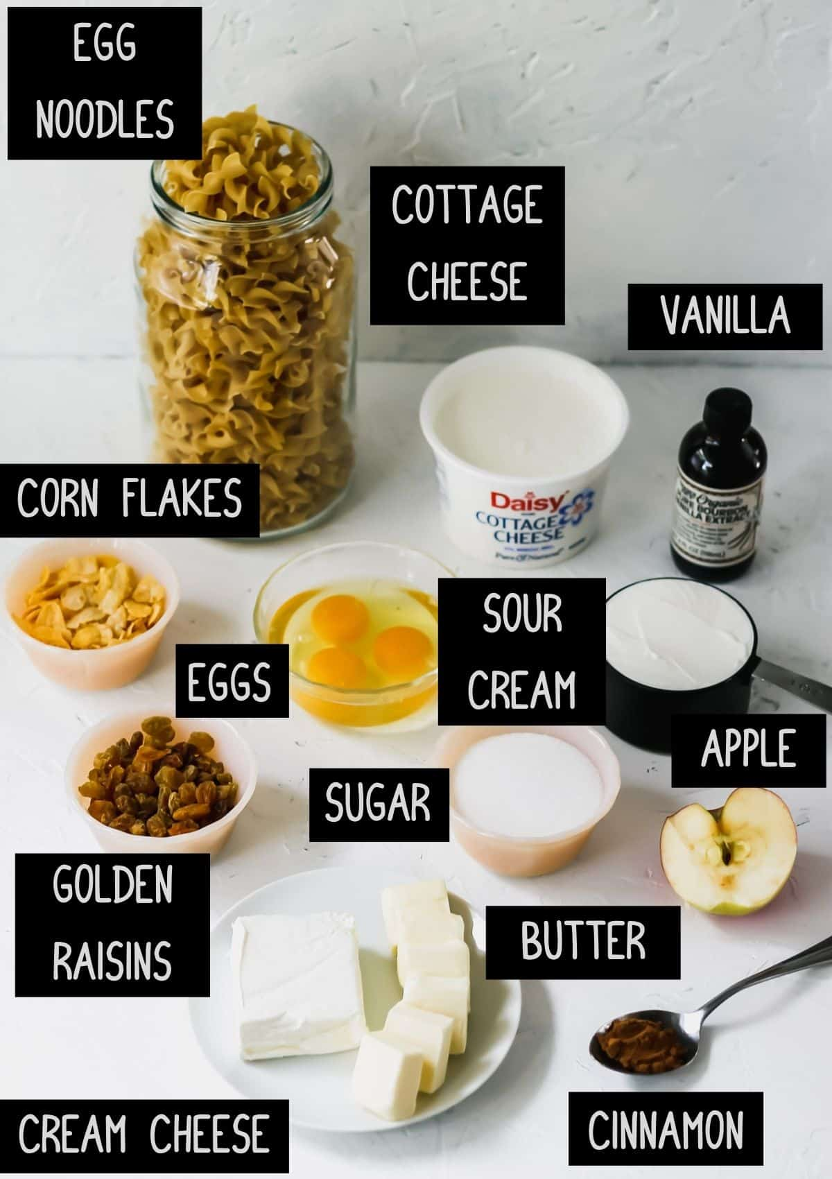 Labelled ingredients for cinnamon apple noodle kugel (see recipe for details).