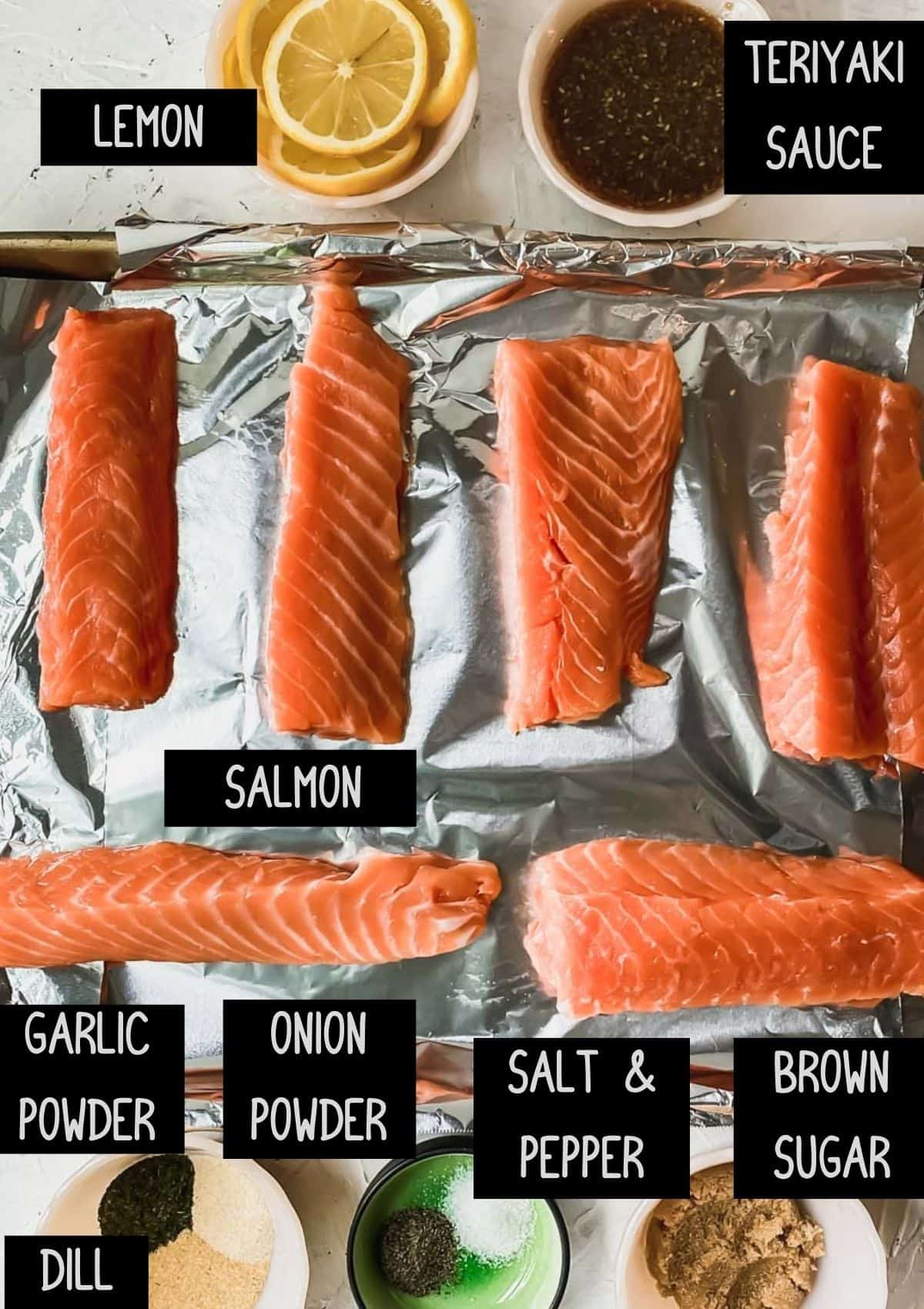 Ingredients for baked teriyaki salmon (see recipe for details)