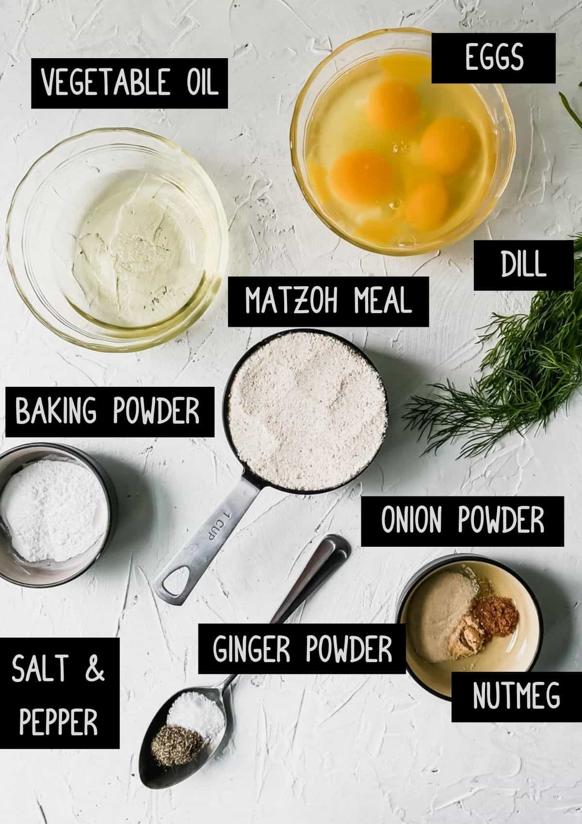 Ingredients for Matzo Balls (see recipe for details)