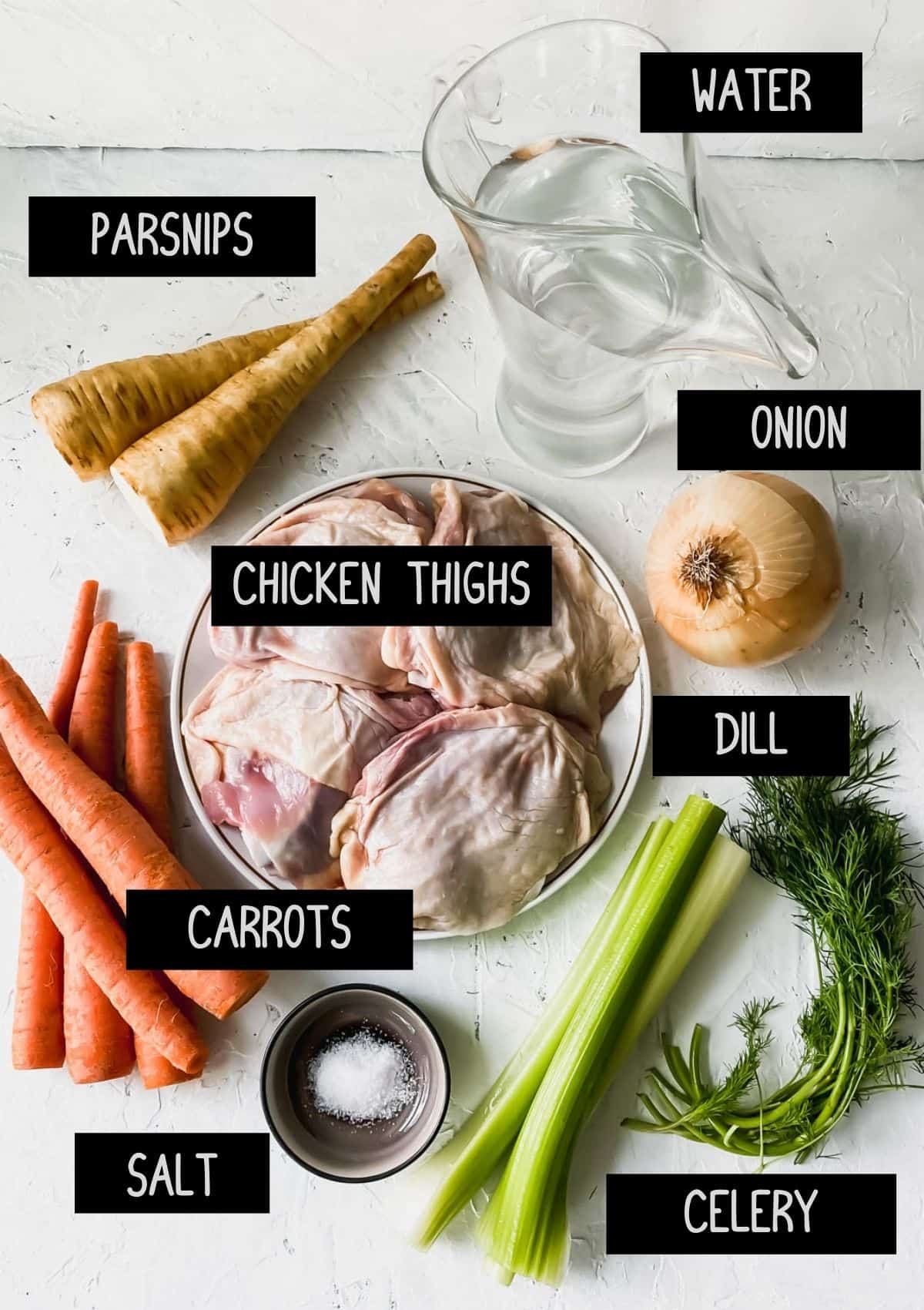 Ingredients for chicken broth (see recipe for details)