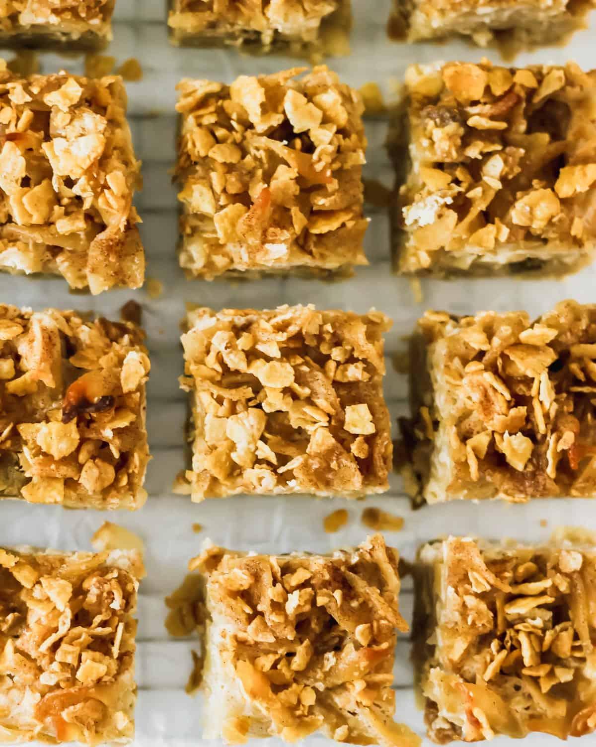 Cut squares of cinnamon apple noodle kugel.