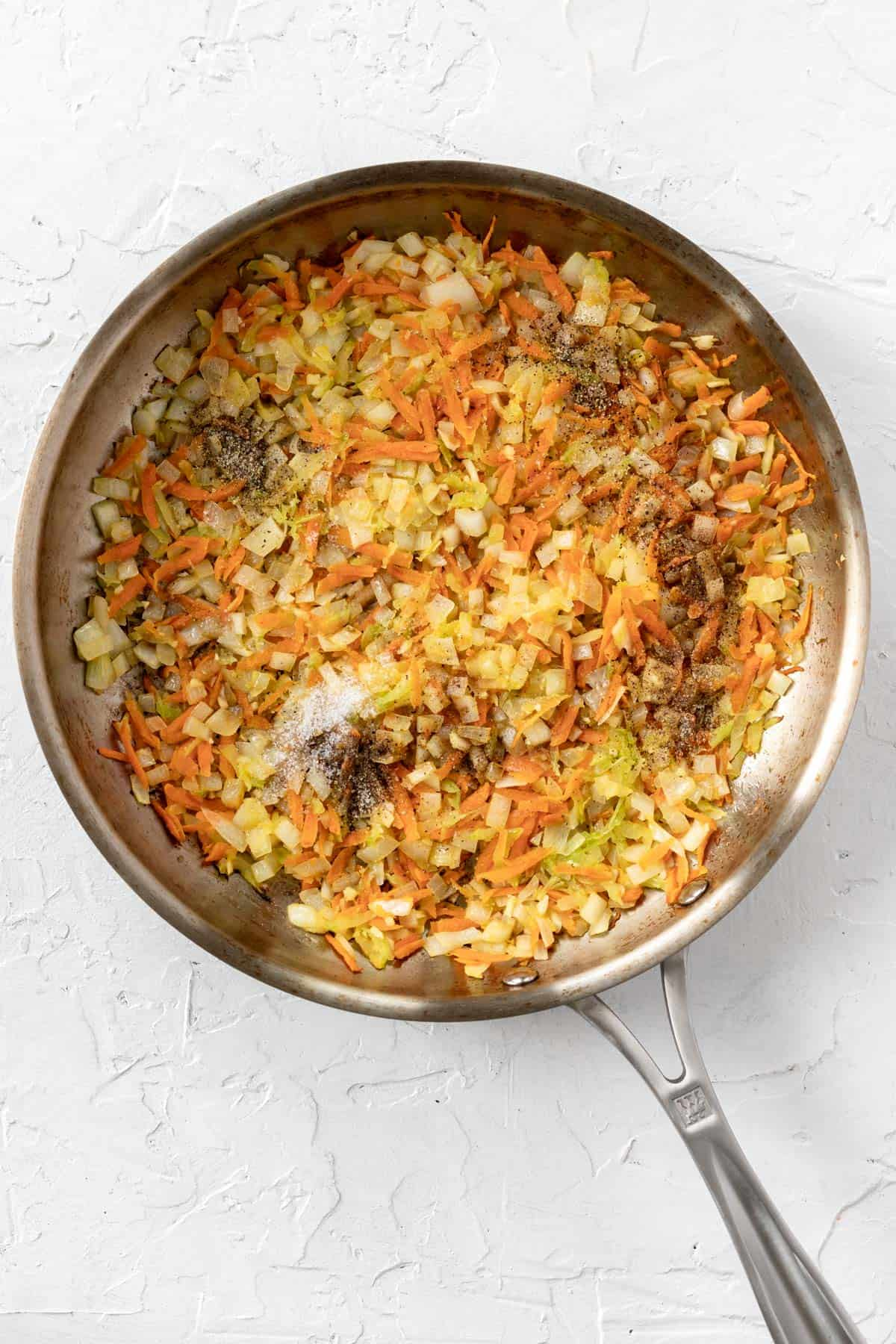 Shredded carrots, celery, onions, and garlic seasoned with salt, pepper, and Worcestershire sauce.
