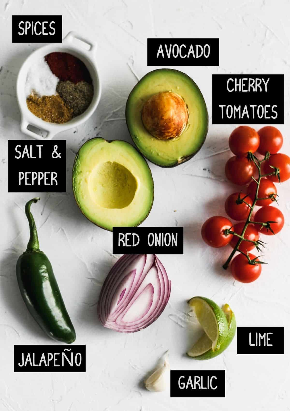 Labelled guacamole ingredients (see recipe for details).
