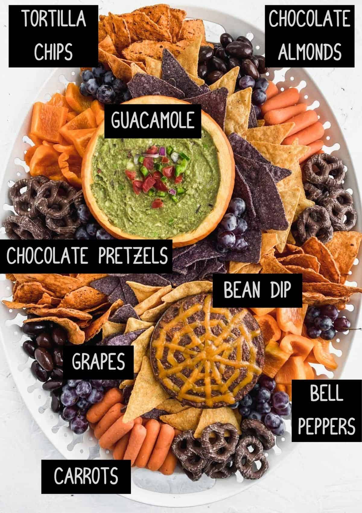 Labelled snack board ingredients (see recipe for details).