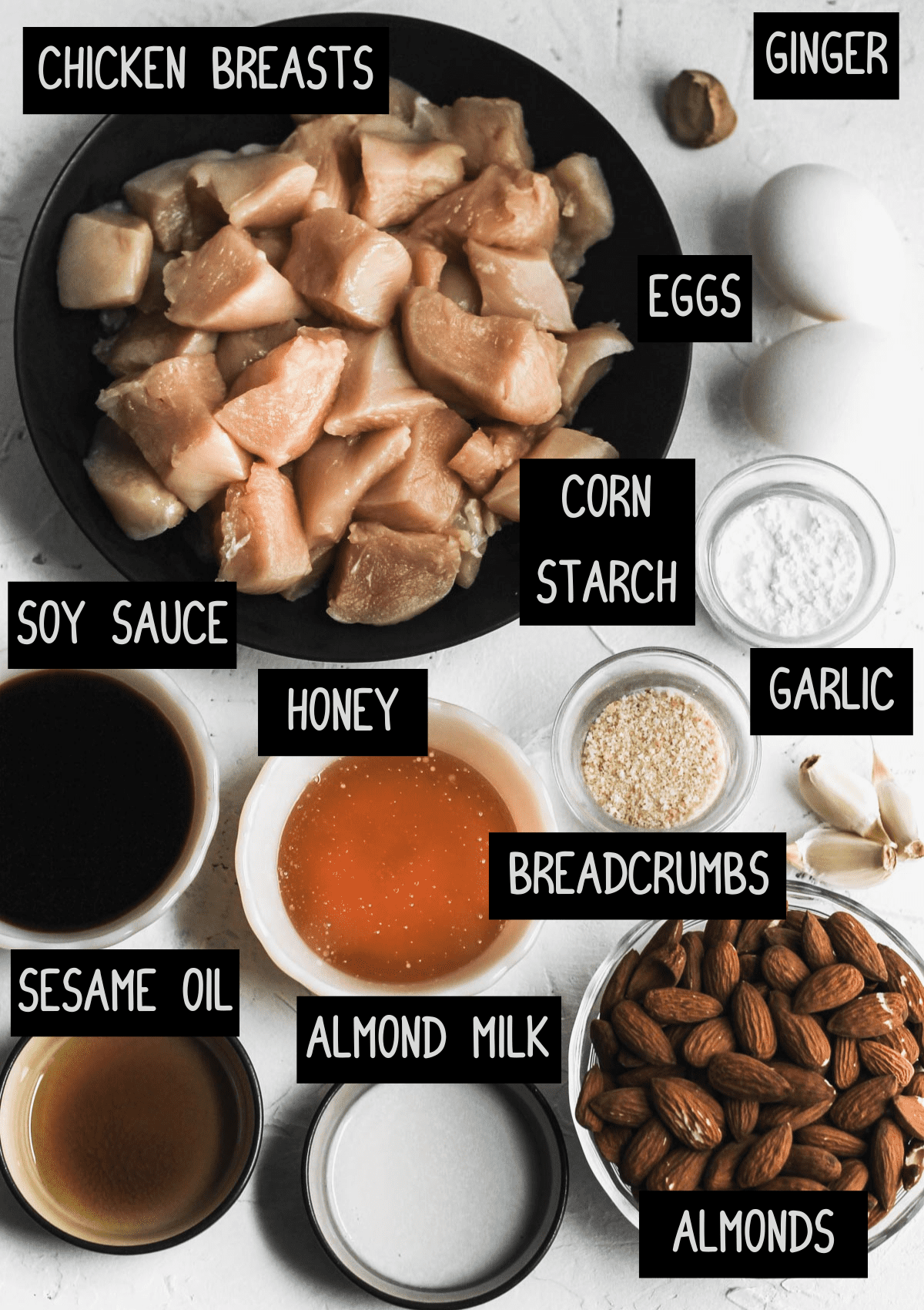 Labelled ingredients for air fryer almond chicken (see recipe for details).