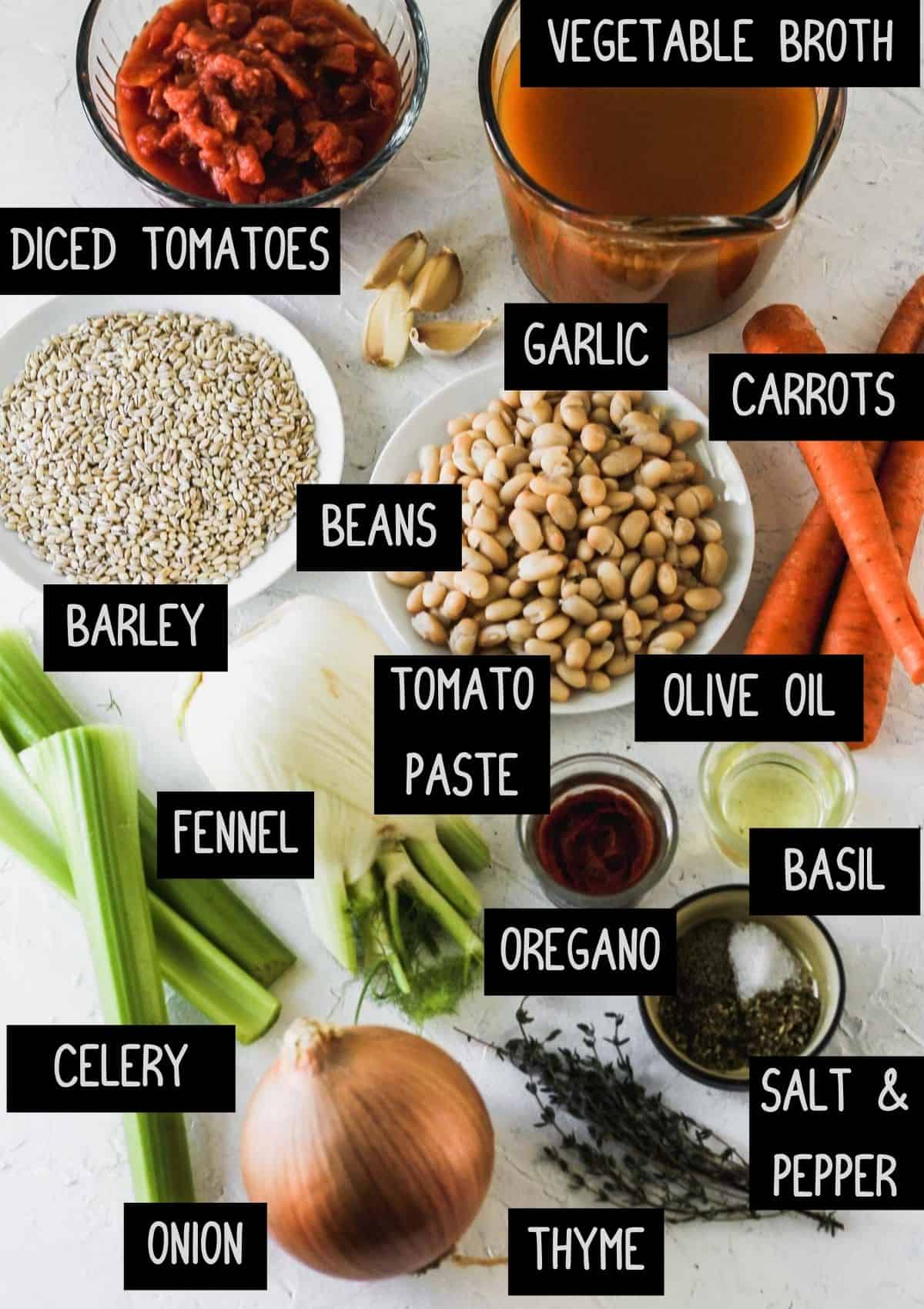 Labelled ingredients for vegetable, bean, and barley soup (see recipe for details).