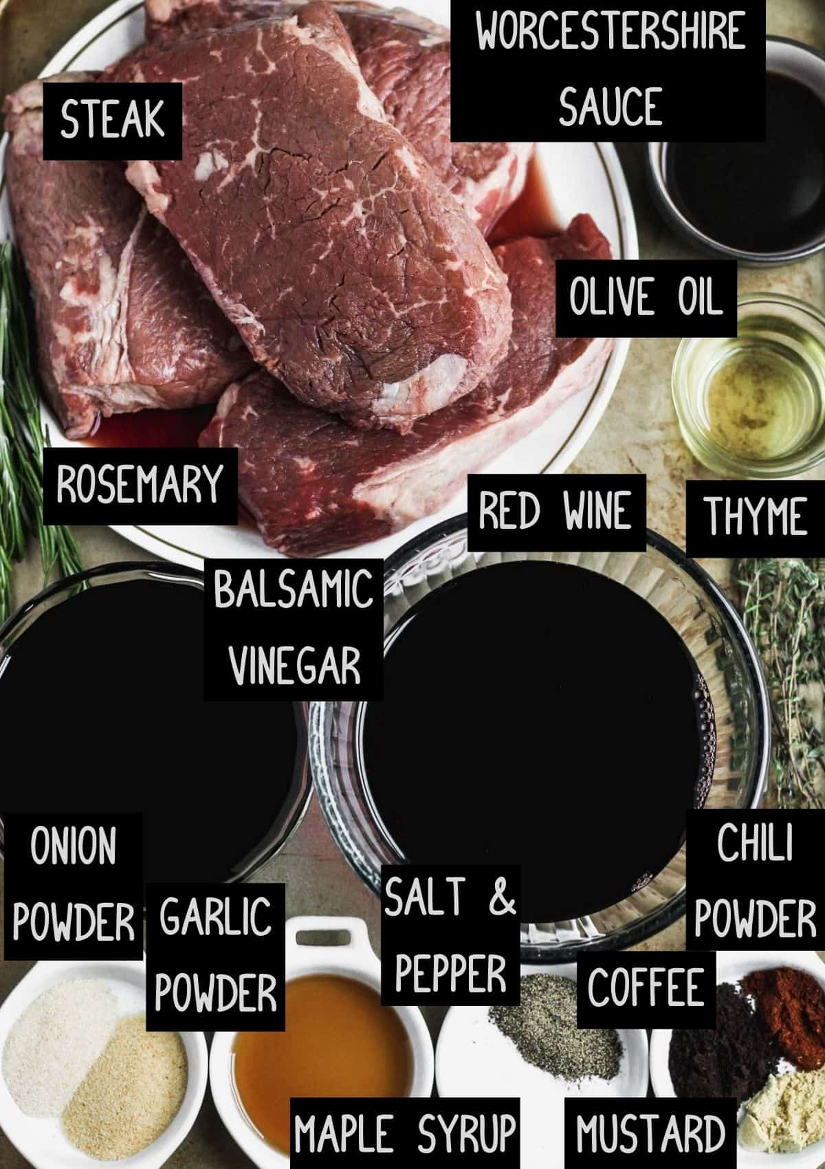 Labelled ingredients for the balsamic glazed steak marinade (see recipe for details).