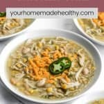 Pinterest pin for healthy chicken chili.