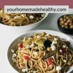 Pinterest pin for mediterranean garlic and olive oil pasta.