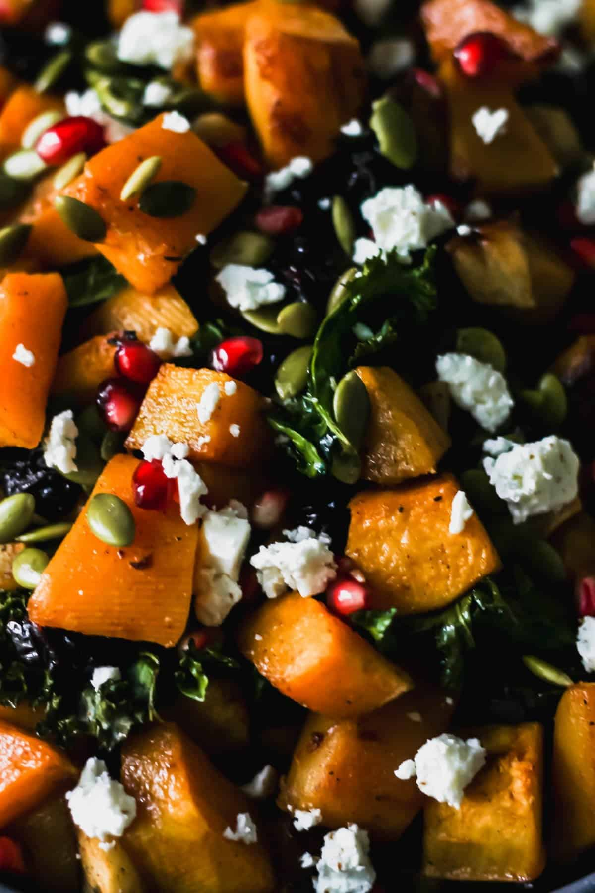 Close up of roasted butternut squash with apples and kale topped with pumpkin seeds, feta, and pomegranate seeds.