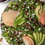 Arugula salad topped with sliced apples and avocado, maple toasted pecans, and feta with cranberry dressing on the side.