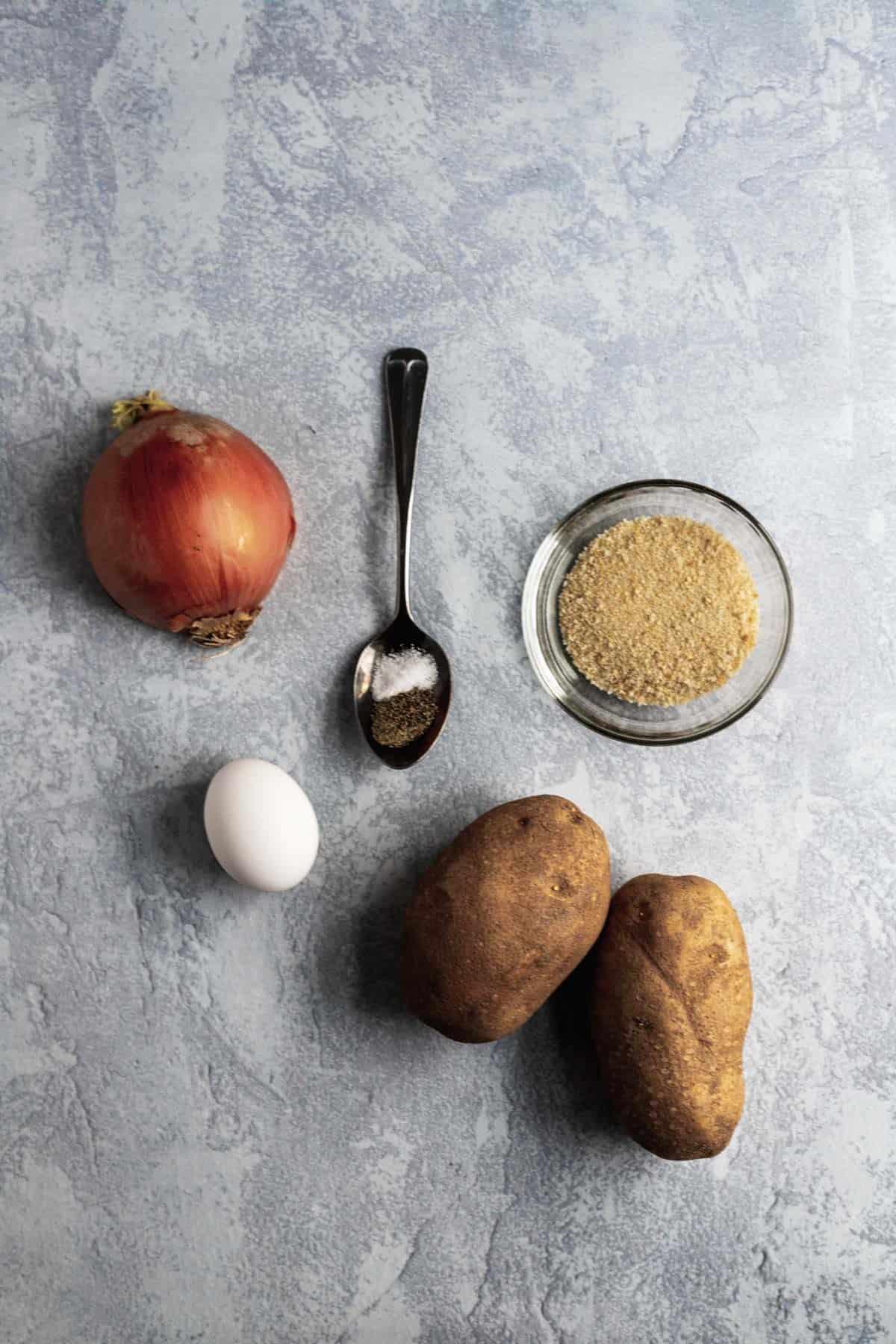 Ingredients for air fryer latkes.