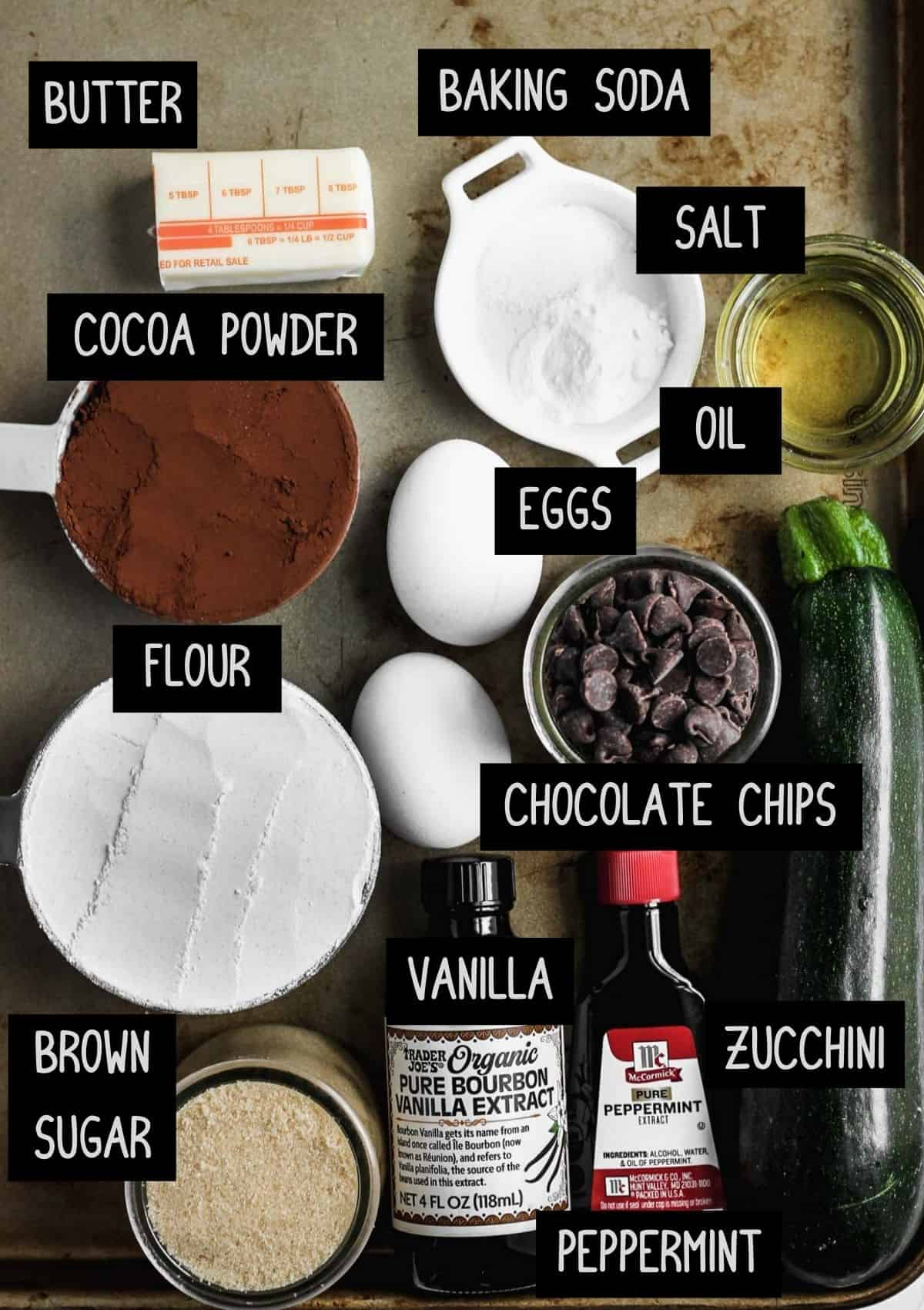 Labelled ingredients for peppermint death by chocolate zucchini bread (see recipe for details).