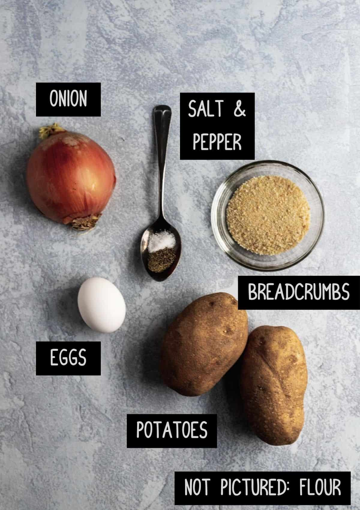 Labelled ingredients for air fryer latkes (see recipe for details).