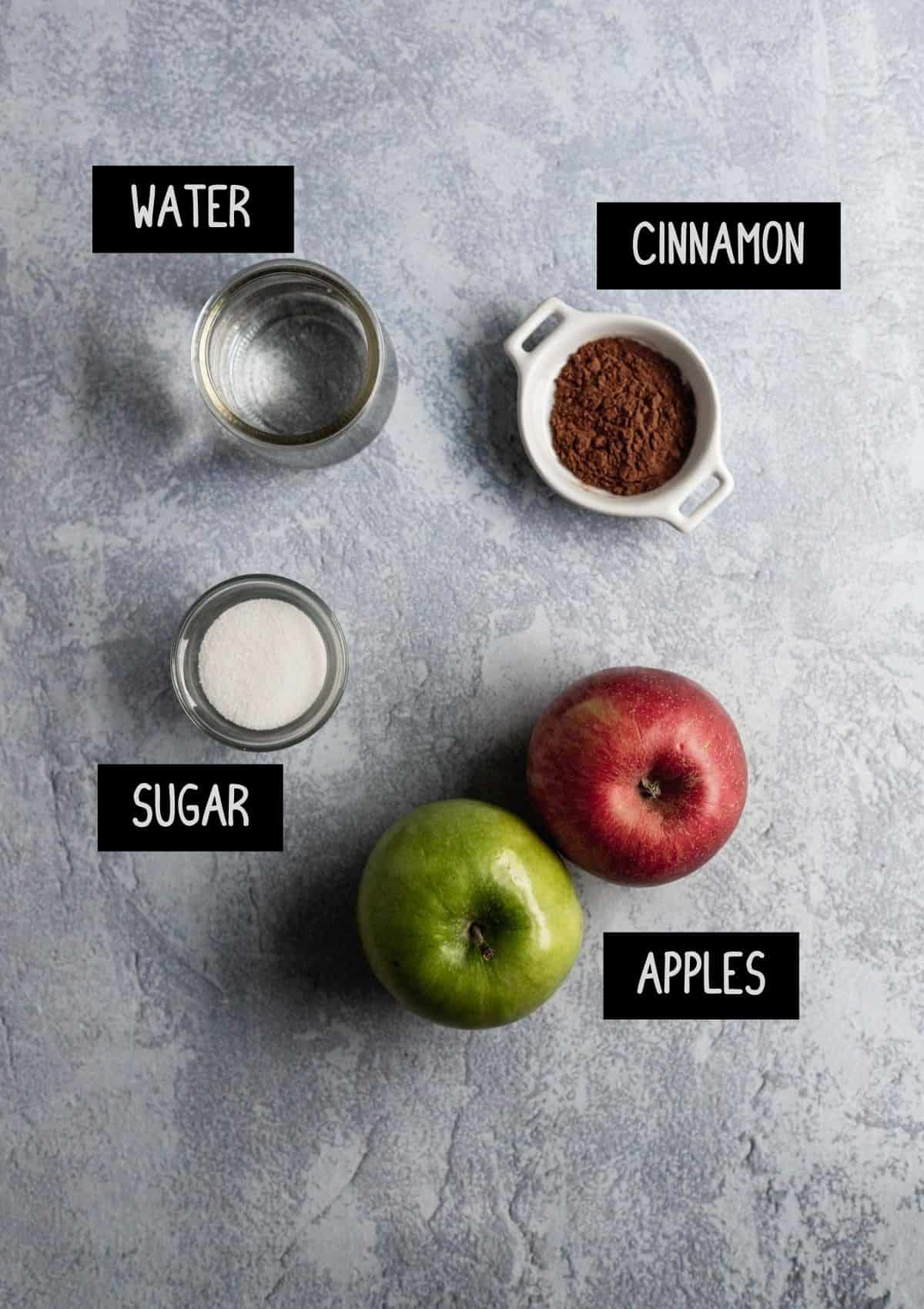 Labelled ingredients for simple homemade apple sauce (see recipe for details).