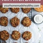 Pinterest graphic for air fryer latkes.