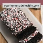 Pinterest image with text overlay for peppermint death by chocolate zucchini bread.