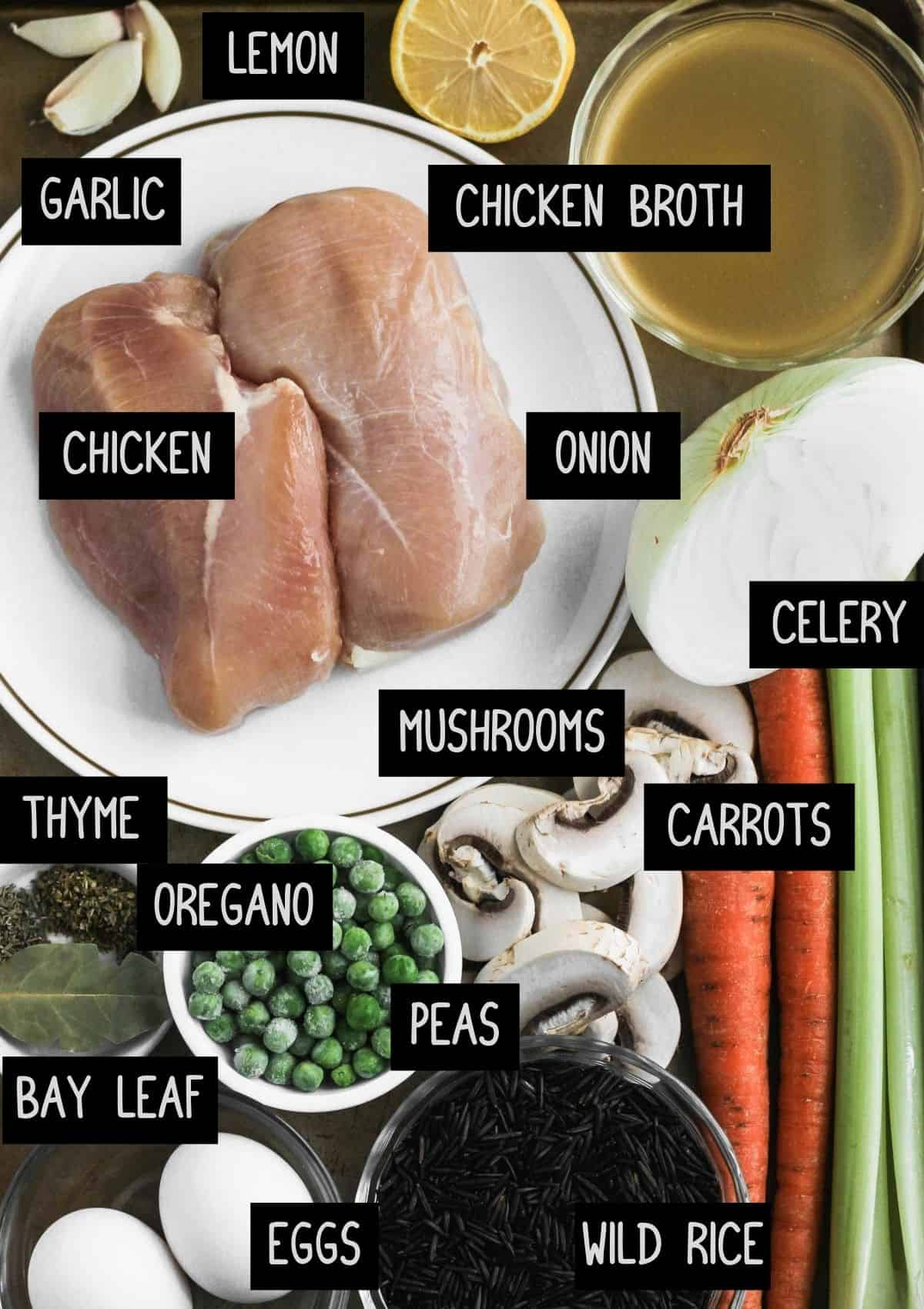 Labelled ingredients for instant pot chicken rice soup (see recipe for details).