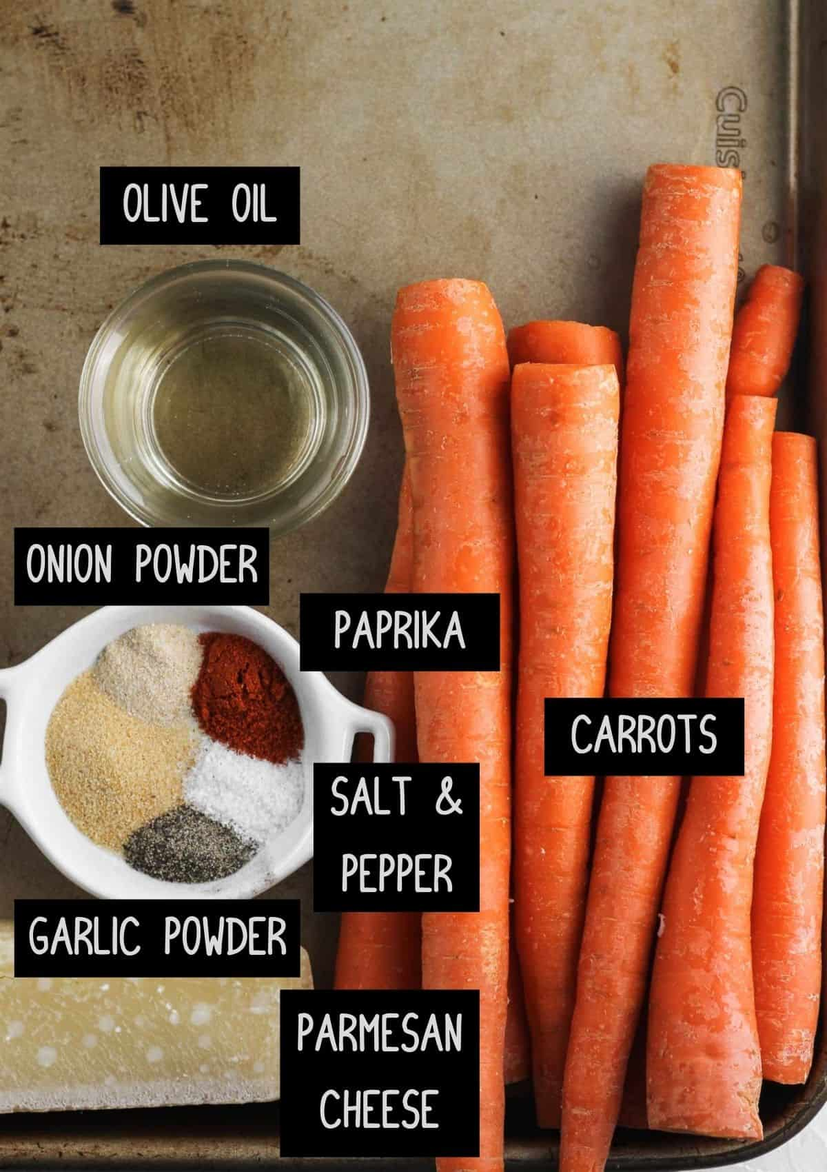 Labelled ingredients for air fryer carrot fries (see recipe for details).