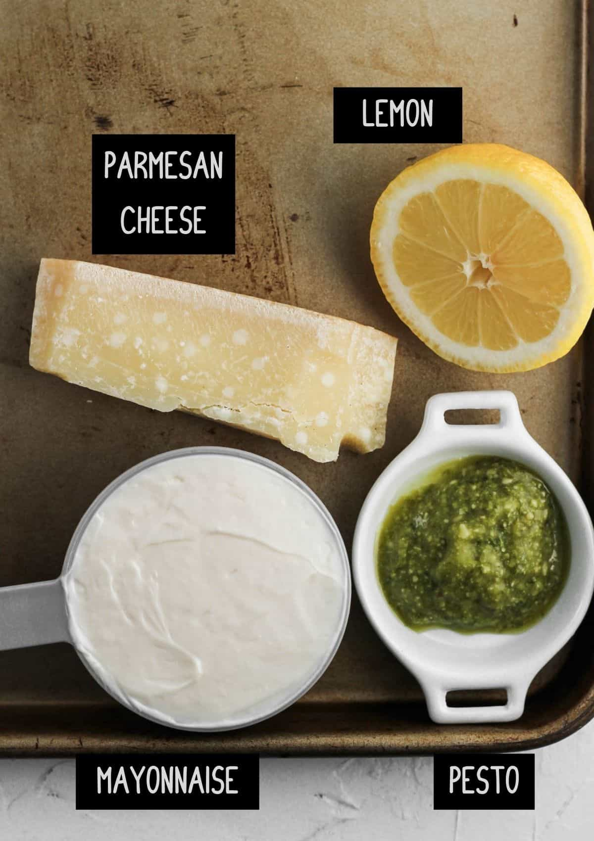 Labelled ingredients for pesto aioli (see recipe for details).