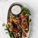 Pin graphic for chicken kofta kebabs.