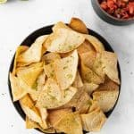 Pin graphic for air fryer tortilla chips.