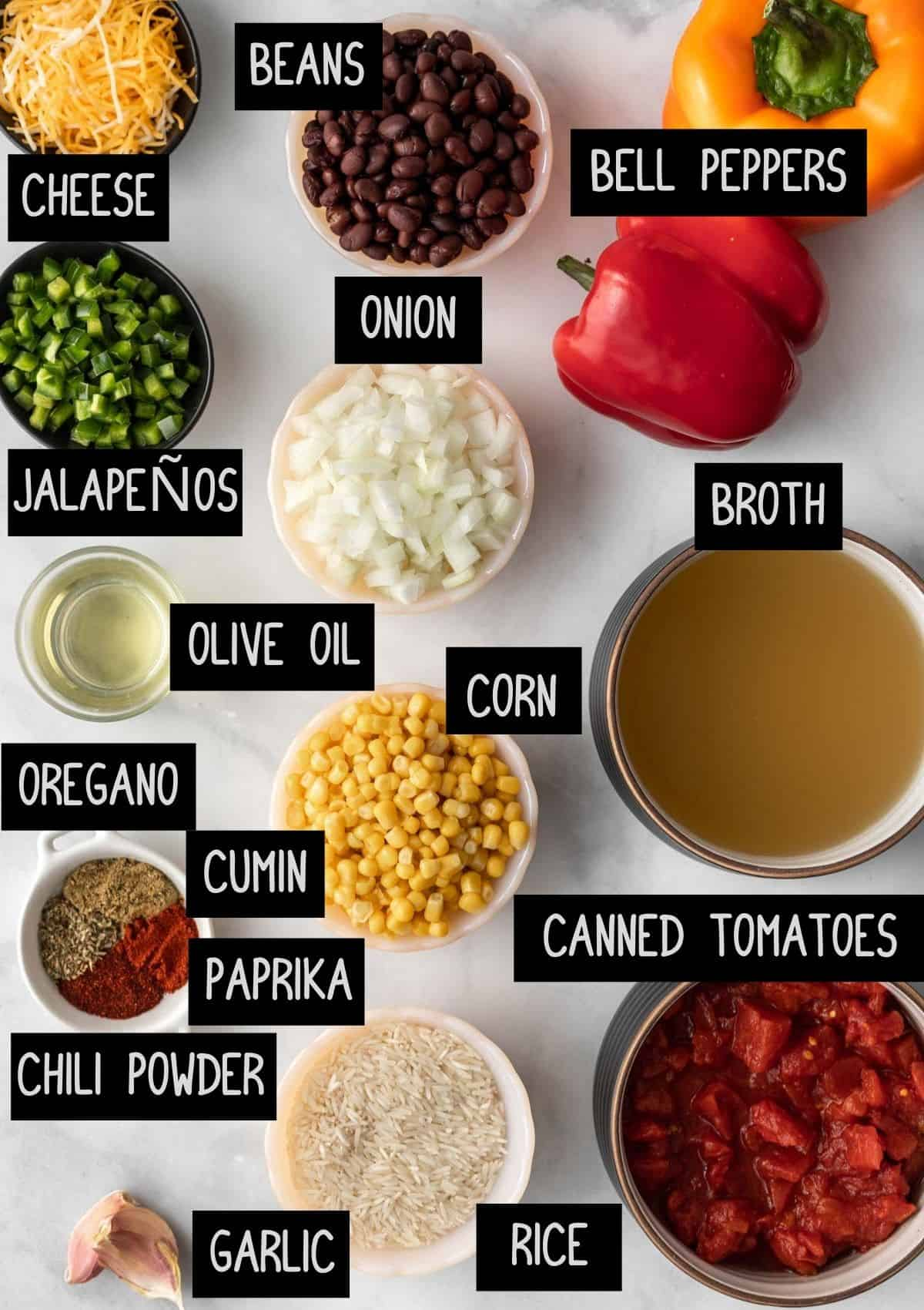 Labelled ingredients (see recipe for details).