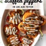 Pin graphic for air fryer stuffed peppers.