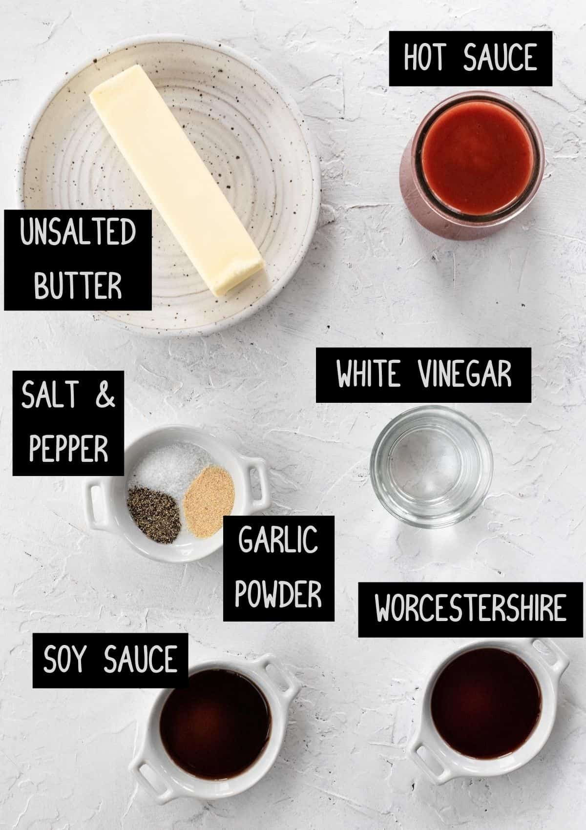 Labelled ingredients for homemade buffalo sauce (see recipe for details).