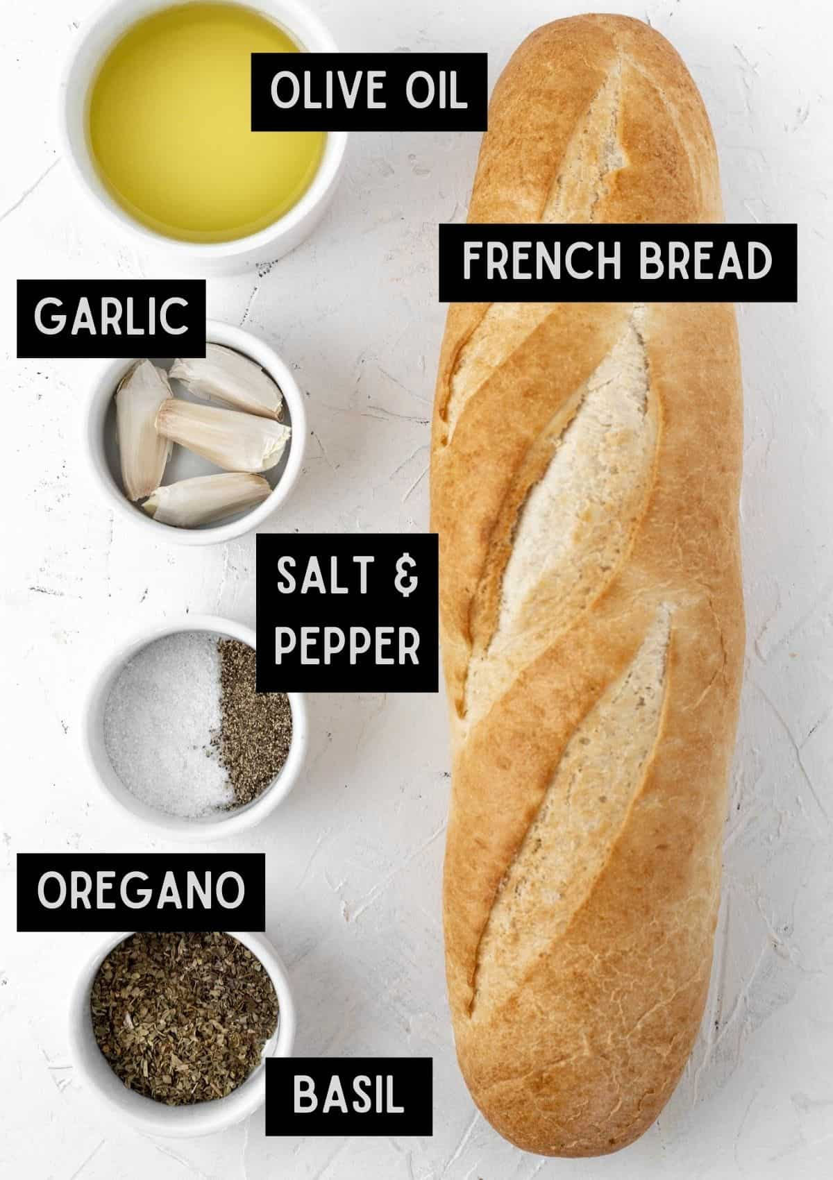 Labelled ingredients for air fryer garlic bread (see recipe for details).