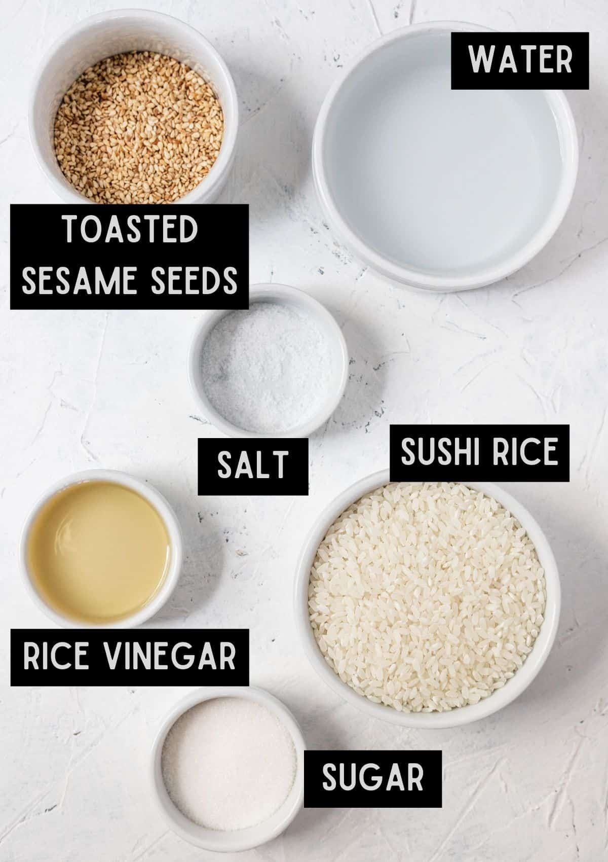 Labelled ingredients for instant pot sushi rice (see recipe for details).