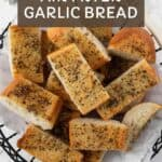 Pin graphic for quick and easy air fryer garlic bread.
