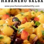 Pin graphic for spicy mango habanero salsa with black beans.