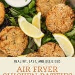 Pin graphic for crispy air fryer chicken patties.