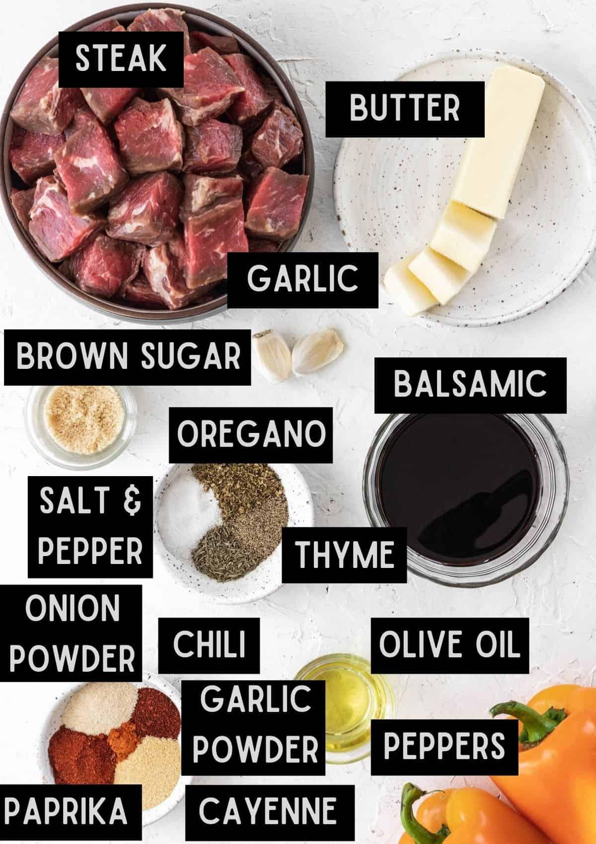 Labelled ingredients for cajun steak bites (see recipe for details).