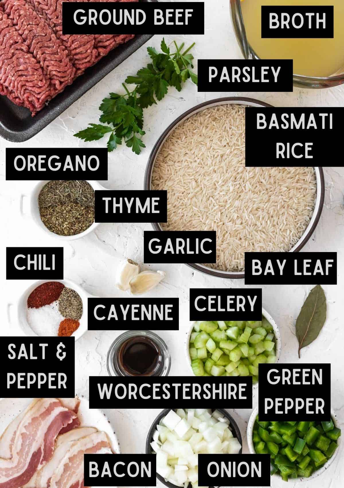 Labelled ingredients for homemade dirty rice (see recipe for details).