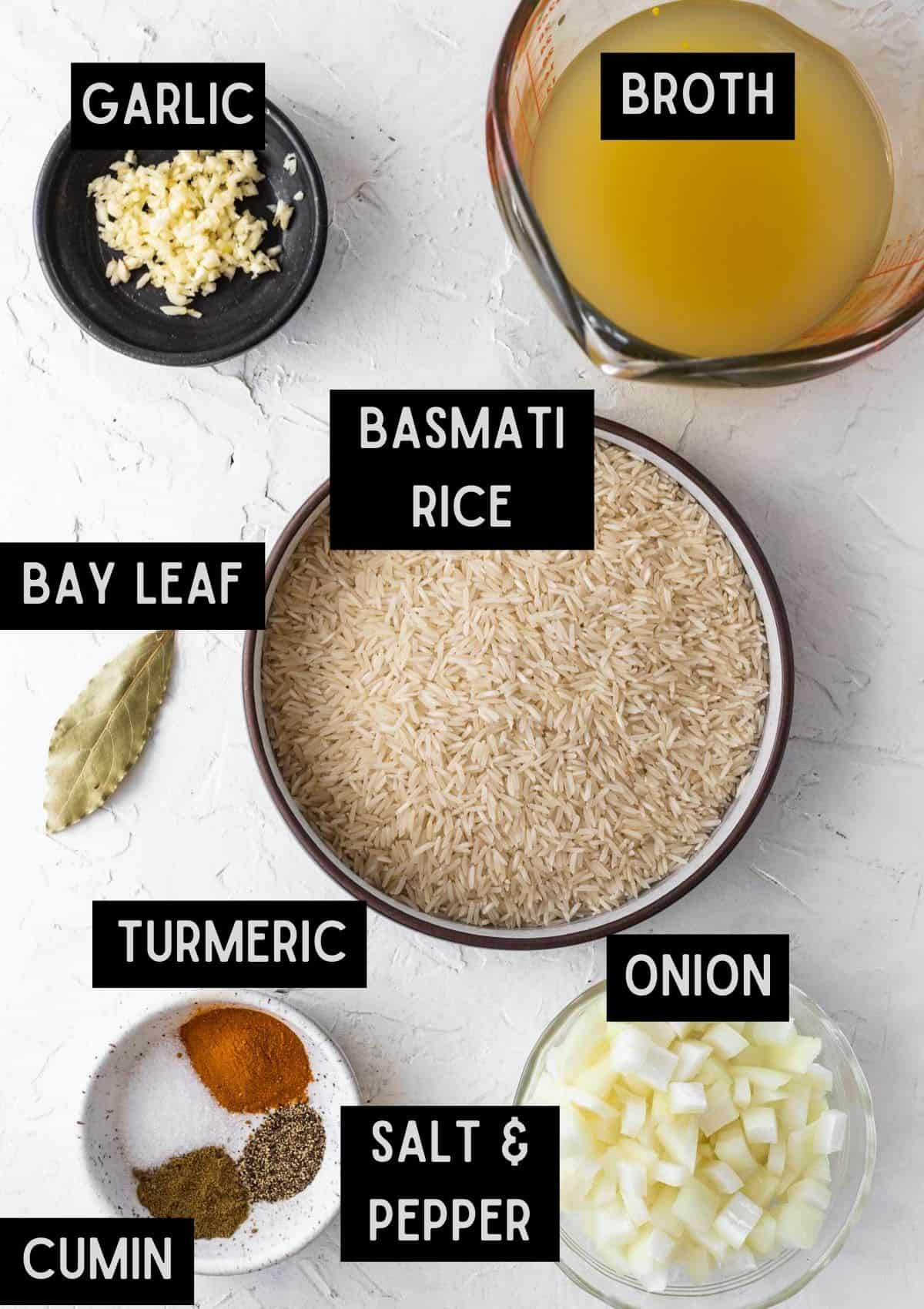 Labelled ingredients for instant pot yellow rice (see recipe for details).