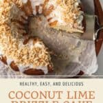 Pin graphic for easy coconut lime drizzle cake.