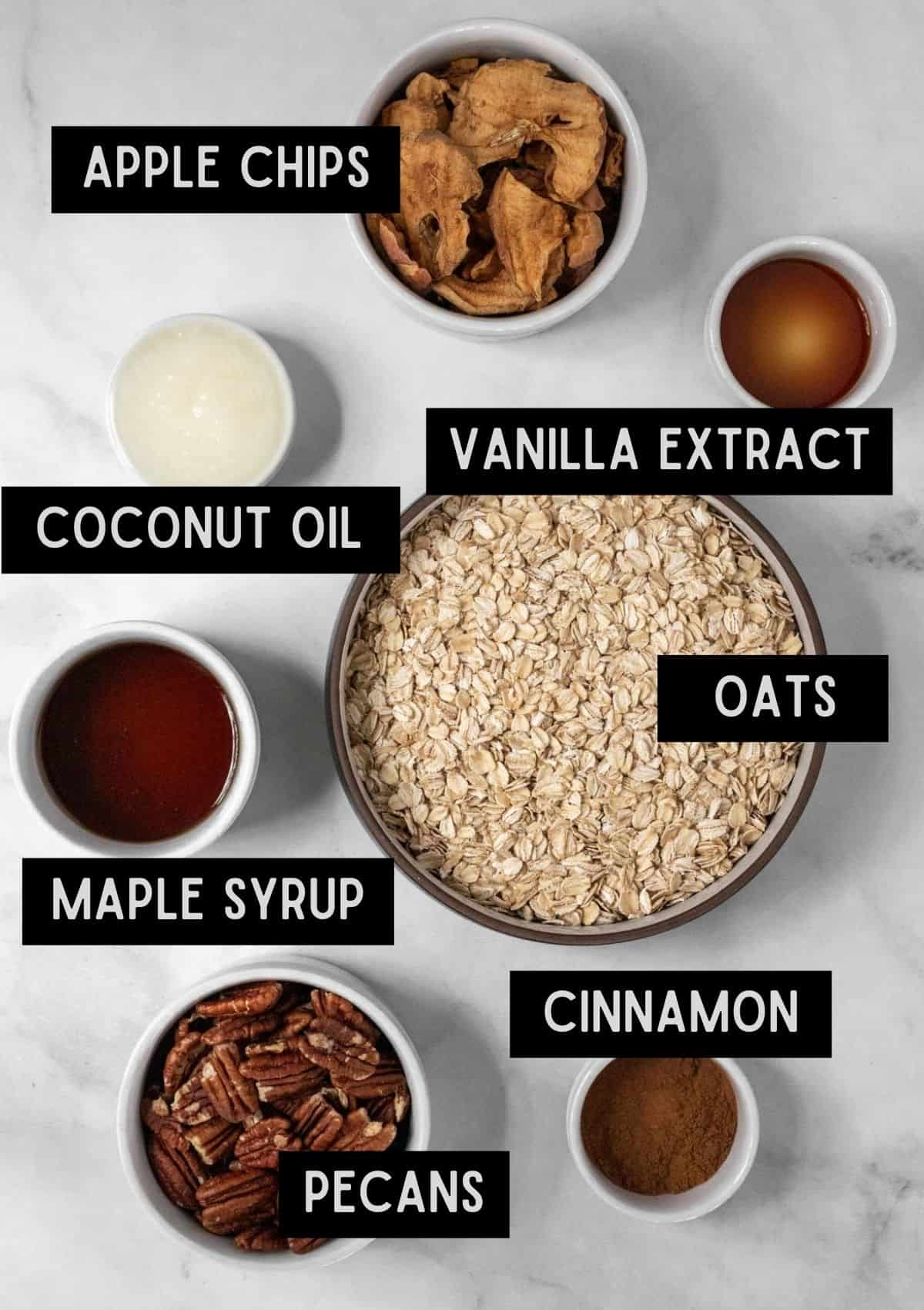 Labelled ingredients for apple cinnamon granola (see recipe for details).