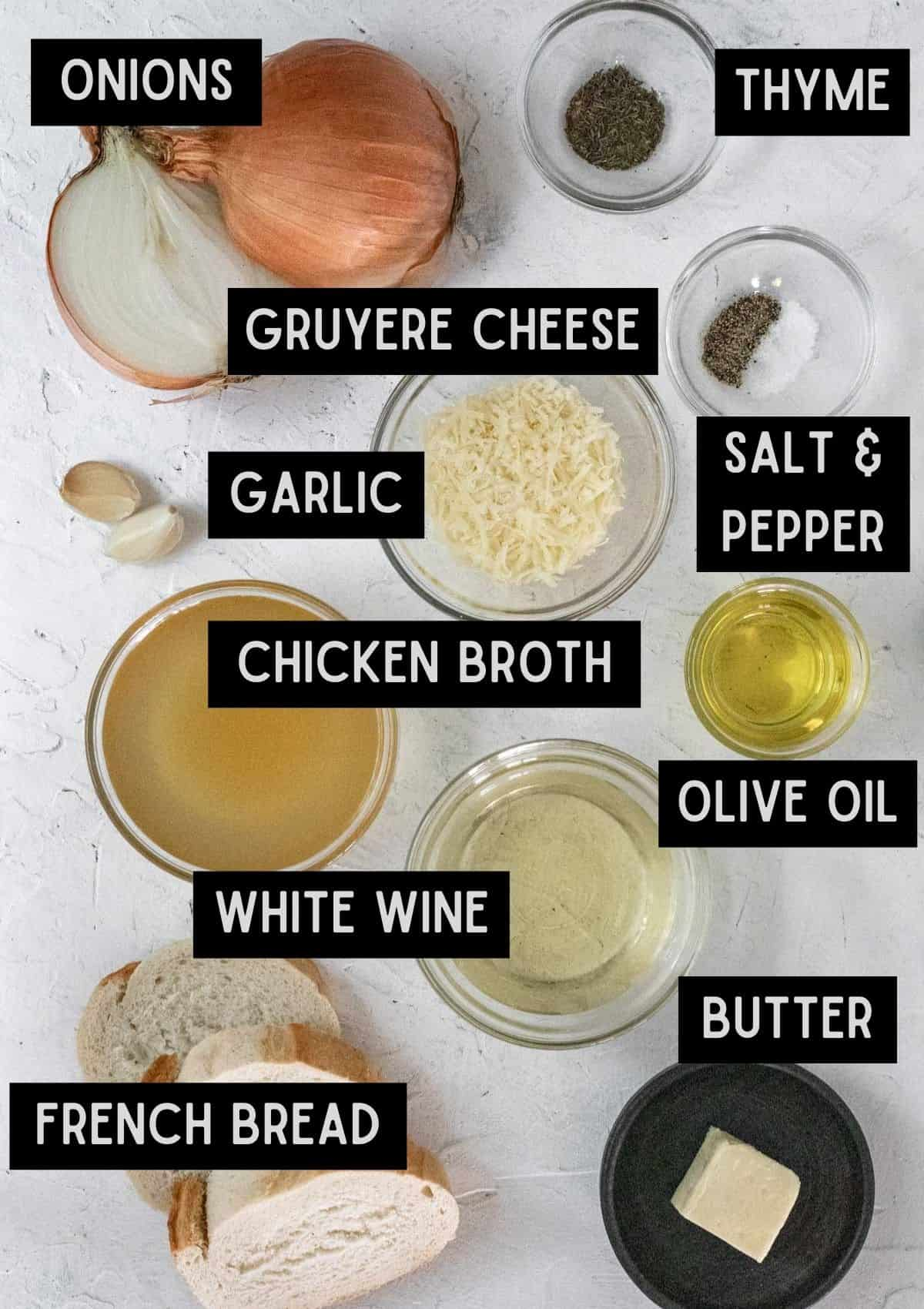 Labelled ingredients for the french onion sauce (see recipe for details).