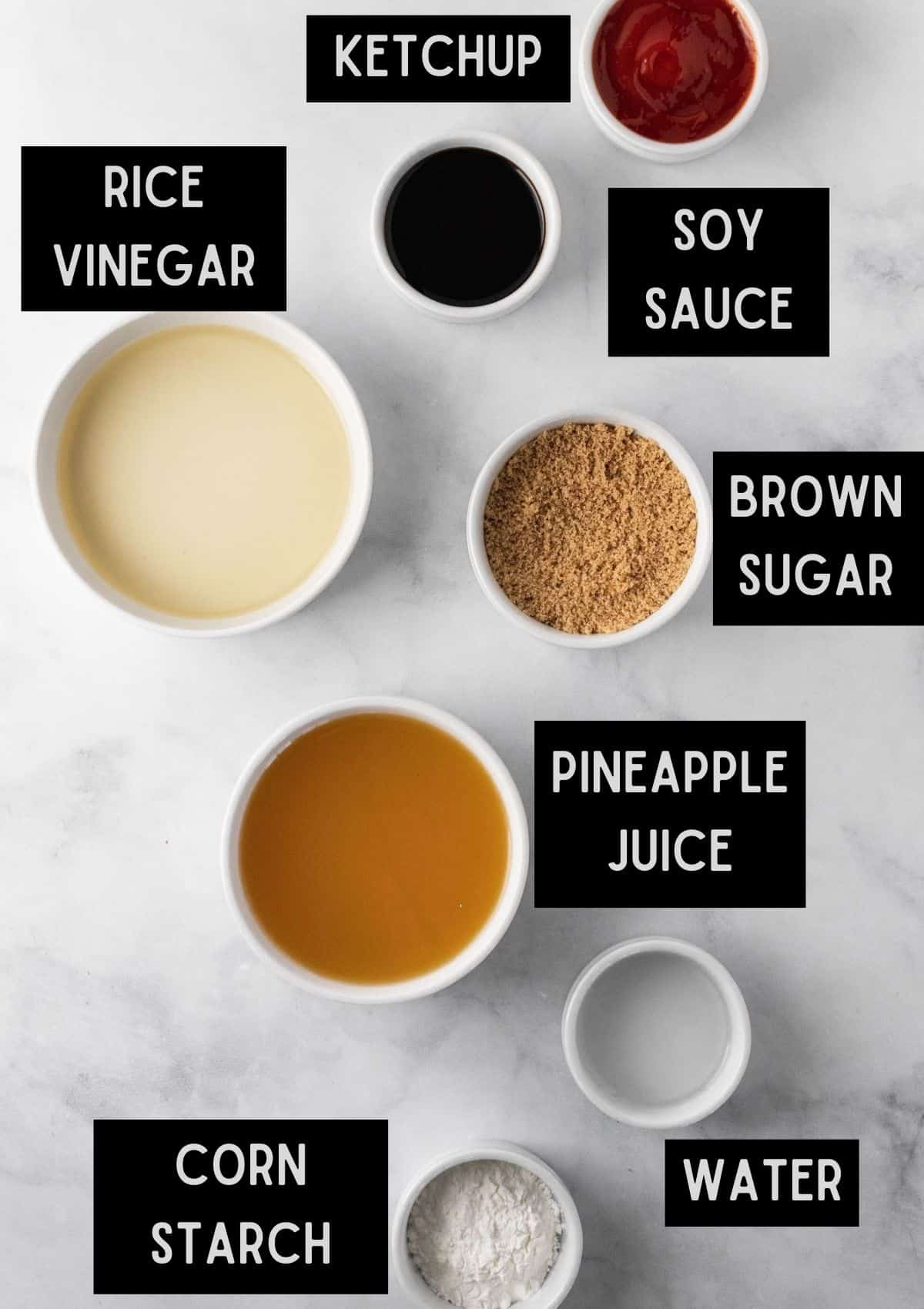 Labelled ingredients for sweet and sour sauce (see recipe for details).